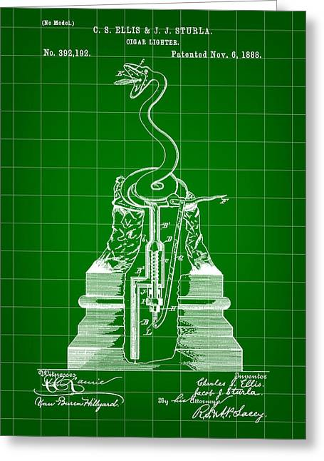 Cigar Lighter Patent 1888 - Green Greeting Card by Stephen Younts