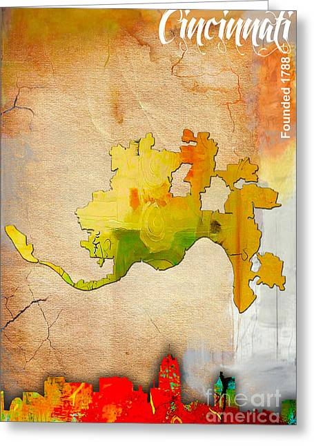 Colorful Greeting Cards - Cincinnati Map and Skyline Watercolor Greeting Card by Marvin Blaine