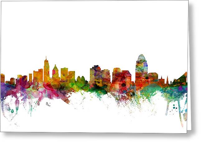 United States Greeting Cards - Cincinnati Ohio Skyline Greeting Card by Michael Tompsett