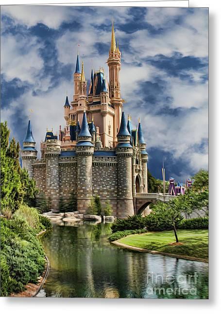 Rapunzel Greeting Cards - Cinderella Castle Greeting Card by Lee Dos Santos