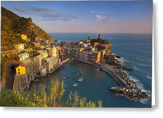 Italian Sunset Greeting Cards - Cinque Terre Greeting Card by Brian Jannsen