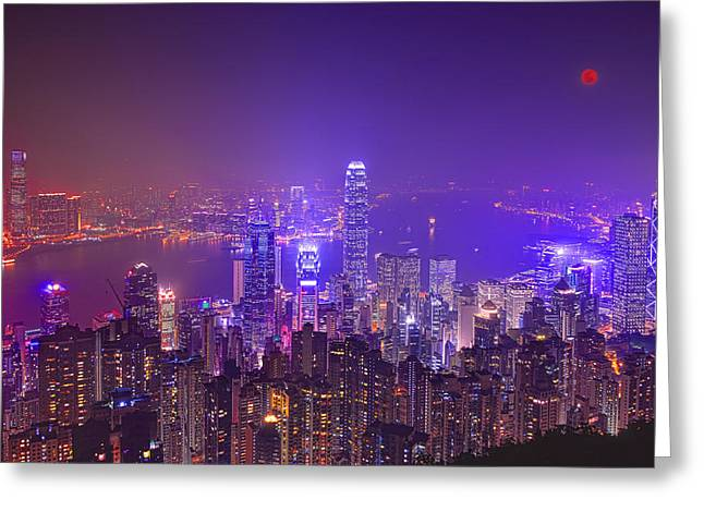 Kowloon Greeting Cards - City of Lights Greeting Card by Midori Chan