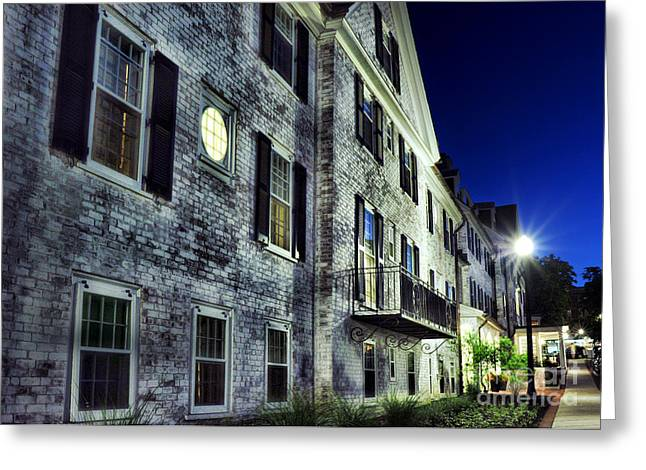 City Buildings Greeting Cards - City Scene At Night Greeting Card by HD Connelly