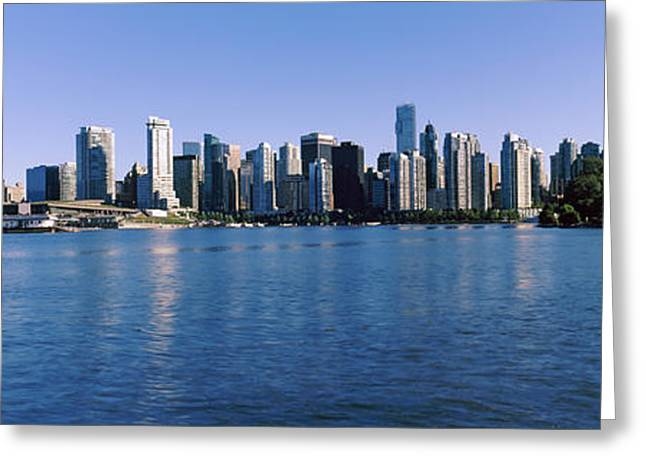 False Greeting Cards - City Skyline, Vancouver, British Greeting Card by Panoramic Images