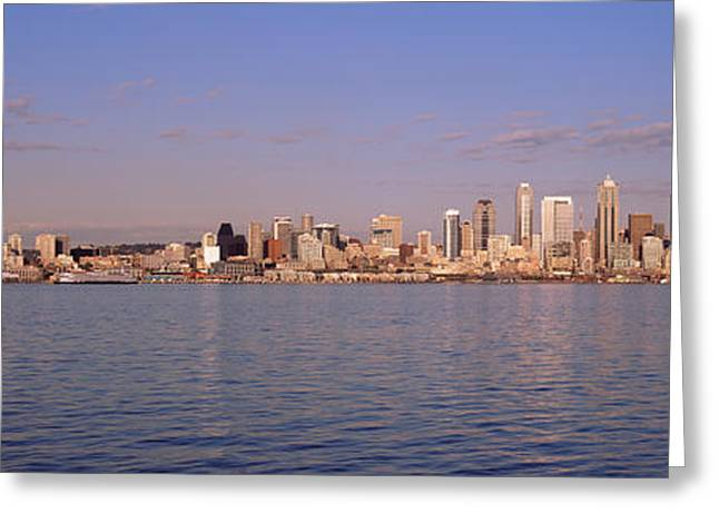 Alki Beach Greeting Cards - City Viewed From Alki Beach, Seattle Greeting Card by Panoramic Images