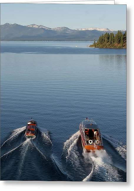 Mahogany Greeting Cards - Classic Boats of Lake Tahoe Greeting Card by Steven Lapkin