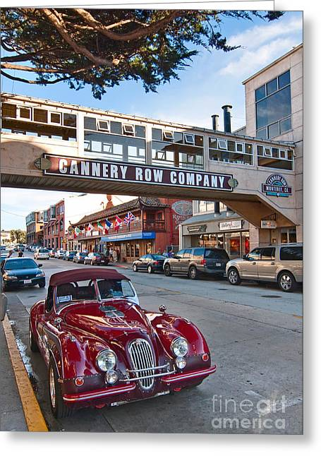 Cannery Row Greeting Cards - Classic Cannery Row - Monterey California with a vintage red car. Greeting Card by Jamie Pham