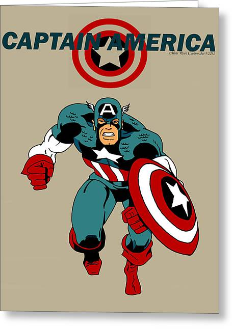 Thor Greeting Cards - Classic Captain America Greeting Card by Mista Perez Cartoon Art
