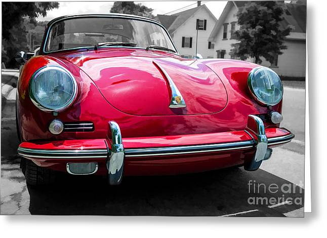 Timer Greeting Cards - Classic Red Porsche Sports Car Greeting Card by Edward Fielding