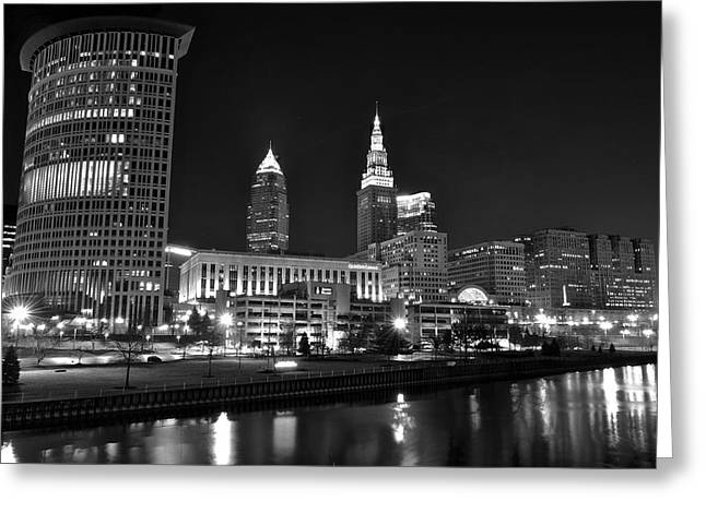 Cuyahoga River Greeting Cards - Cleveland in Black and White Greeting Card by Frozen in Time Fine Art Photography