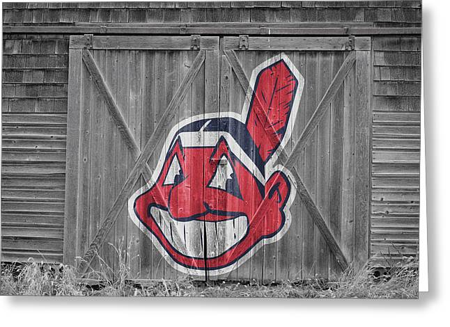 Glove Greeting Cards - Cleveland Indians Greeting Card by Joe Hamilton