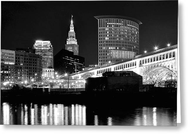 River View Greeting Cards - Cleveland Skyline Greeting Card by Frozen in Time Fine Art Photography