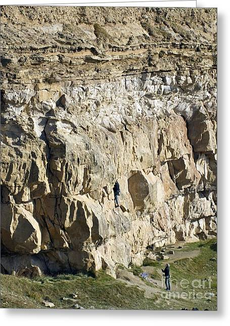 Ledge Photographs Greeting Cards - Cliff Face, Dorset Greeting Card by Adrian Bicker