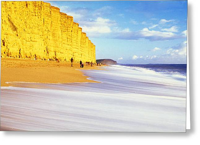 Burton Greeting Cards - Cliff On The Beach, Burton Bradstock Greeting Card by Panoramic Images