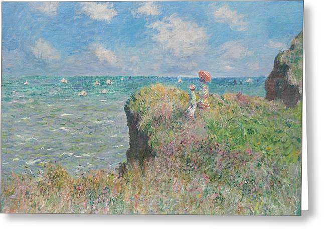 Pourville Greeting Cards - Cliff Walk at Pourville Greeting Card by Claude Monet
