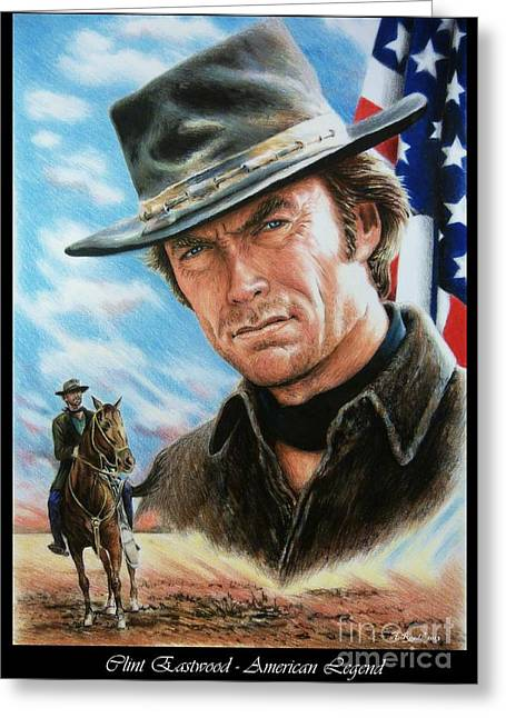 Land Of The Free Greeting Cards - Clint Eastwood American Legend Greeting Card by Andrew Read