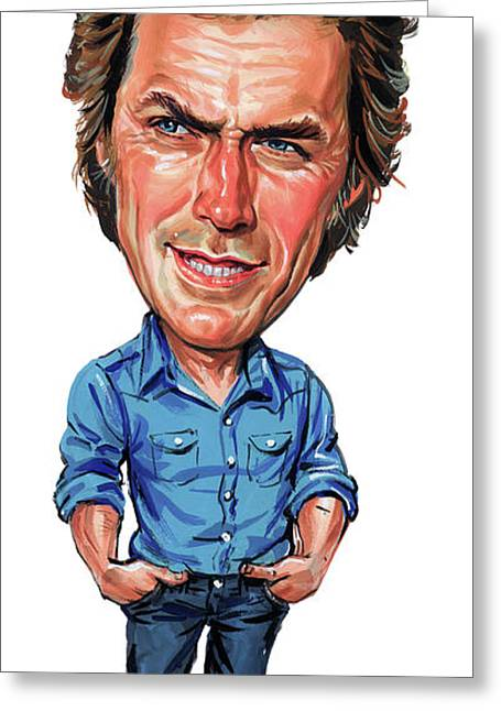 Awesome Greeting Cards - Clint Eastwood Greeting Card by Art