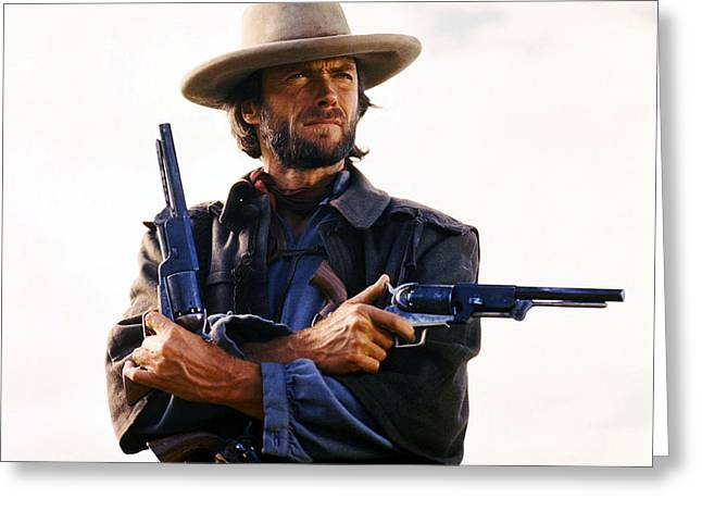 Outlaws Greeting Cards - Clint Eastwood in The Outlaw Josey Wales  Greeting Card by Silver Screen