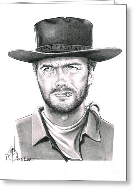 Western Pencil Drawings Greeting Cards - Clint Eastwood Greeting Card by Murphy Elliott