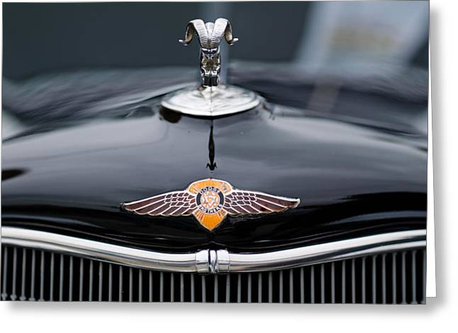 Collector Hood Ornament Greeting Cards - Close-up Of A Hood Ornament Of Dodges Greeting Card by Panoramic Images