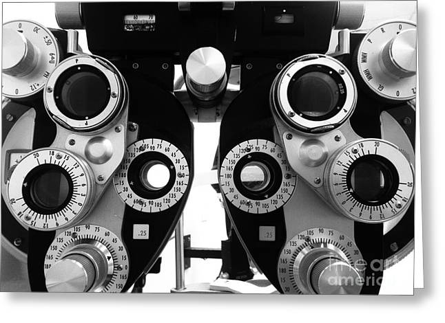 Optometrist Greeting Cards - Closeup of a Phoropter Eye Examination Equipment Greeting Card by Amy Cicconi