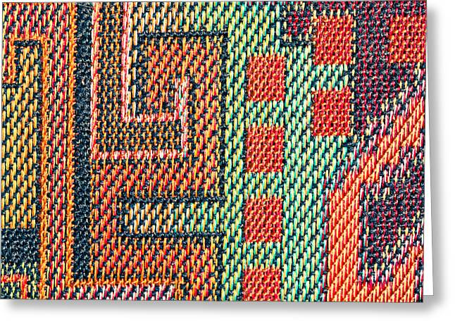 Tapestries Textiles Greeting Cards - Cloth pattern Greeting Card by Tom Gowanlock