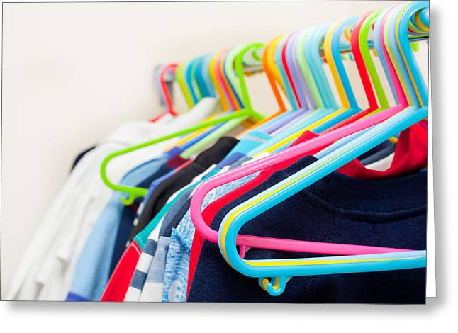 Choosing Photographs Greeting Cards - Clothes hangers Greeting Card by Tom Gowanlock