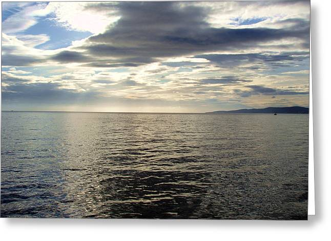 Grey Clouds Greeting Cards - Clouds Over the Aegean Greeting Card by Ellen Henneke