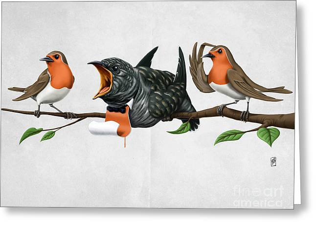 Robin Mixed Media Greeting Cards - Cock Robin Wordless Greeting Card by Rob Snow