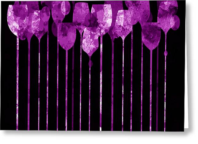 Purple Grapes Mixed Media Greeting Cards - Cocktail Hour 3  Greeting Card by Angelina Vick