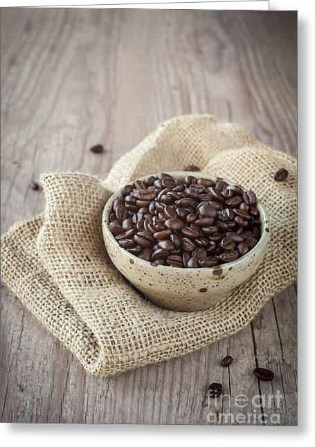 Wooden Bowl Greeting Cards - Coffee beans Greeting Card by Sabino Parente