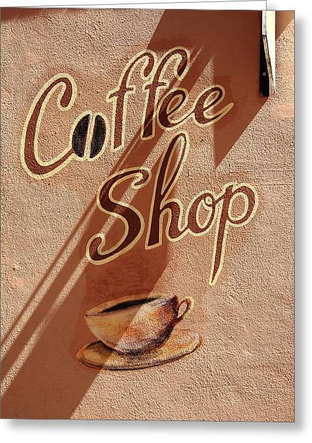 Adobe Greeting Cards - Coffee Shop Greeting Card by Frank Romeo