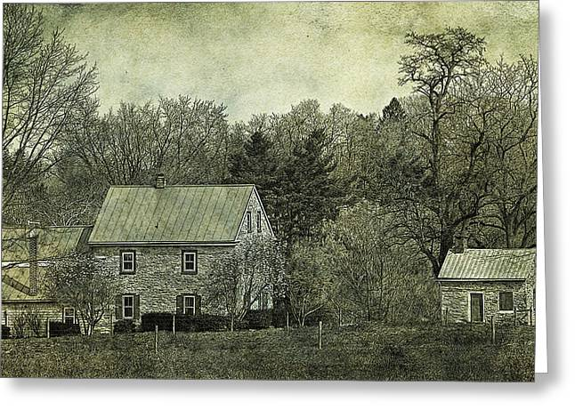 Tin Roof Greeting Cards - Colonial Farmhouse and Summer Kitchen Retro Style Greeting Card by John Stephens