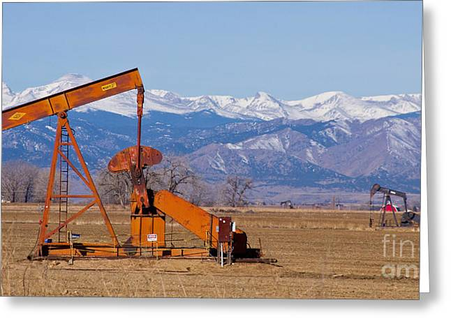 Landscape Oil Photographs Greeting Cards - Colorado Oil Well Panorama Greeting Card by James BO  Insogna