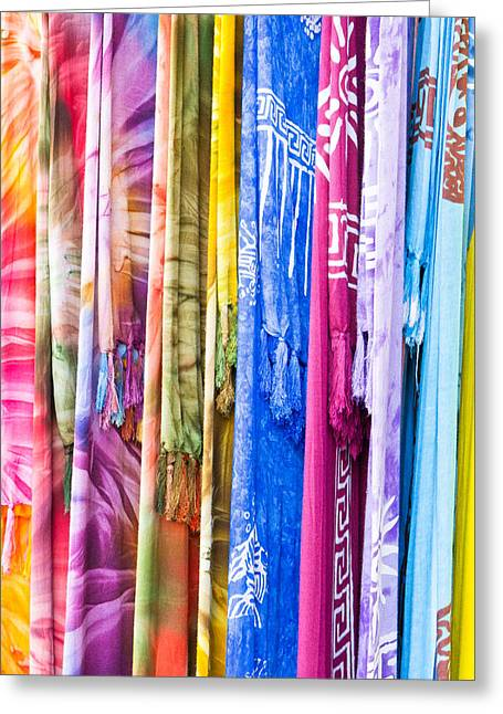Striped Scarf Greeting Cards - Colorful cloths Greeting Card by Tom Gowanlock