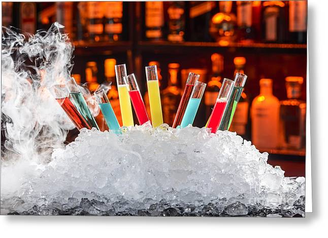 Science Greeting Cards - Colorful Cocktails In A Test Tube Greeting Card by Emirali  KOKAL