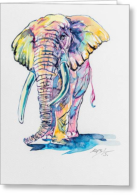 Colorful Elephant Greeting Card by Kovacs Anna Brigitta