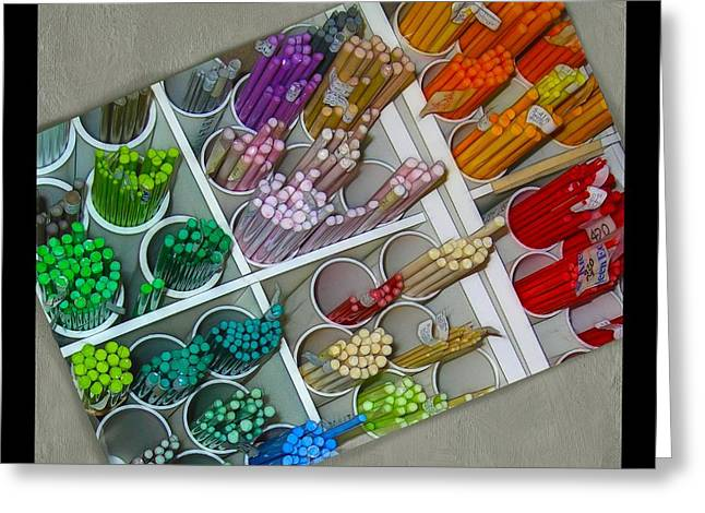 Lampwork Greeting Cards - Colorful Glass Rods Greeting Card by Judi Bagwell