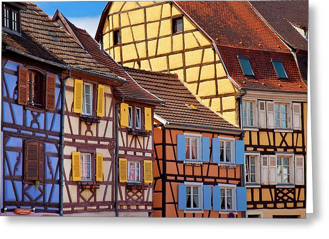 Colorful Half-timbered Houses Of Petite Greeting Card by Brian Jannsen