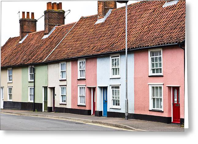 Old Neighbourhood Greeting Cards - Colorful houses Greeting Card by Tom Gowanlock