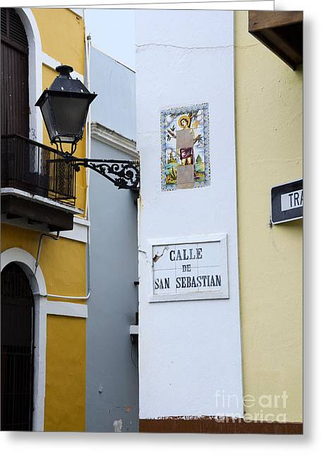 Recently Sold -  - Old Street Greeting Cards - Colorful Old San Juan Greeting Card by Birgit Tyrrell