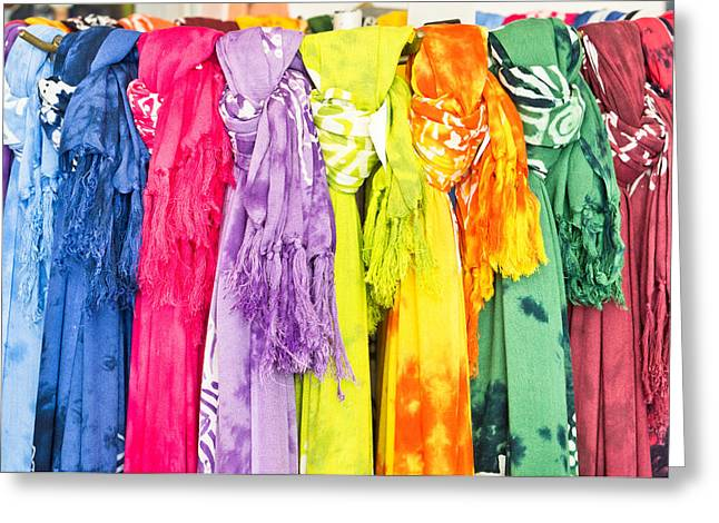 Synthetic Greeting Cards - Colorful scarves Greeting Card by Tom Gowanlock