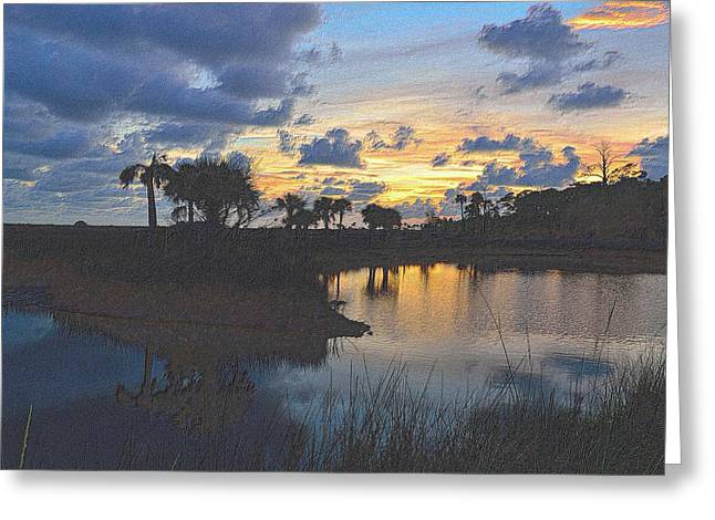 Sunset Framed Prints Drawings Greeting Cards - Colorful Sunset  Greeting Card by Richard Zentner