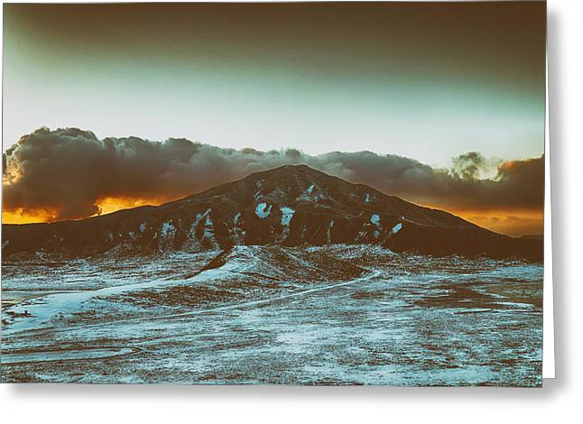 Smoky Skies Greeting Cards - Colorful Sunset Volcano in Japan Greeting Card by Mountain Dreams