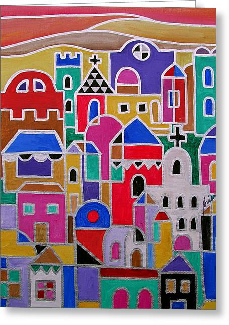 Carter House Greeting Cards - Colorful Town Of Guanajuato Mexico Greeting Card by Pristine Cartera Turkus