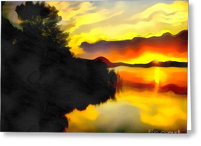 Water Filter Paintings Greeting Cards - Colors at the lake Greeting Card by Odon Czintos