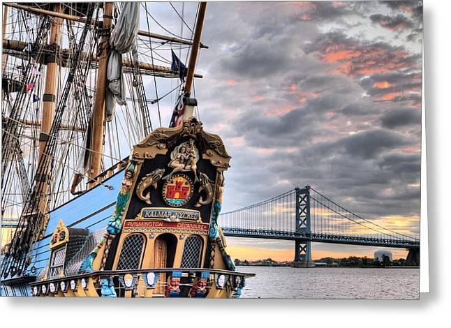 Ben Franklin Bridge Greeting Cards - Colors Greeting Card by JC Findley