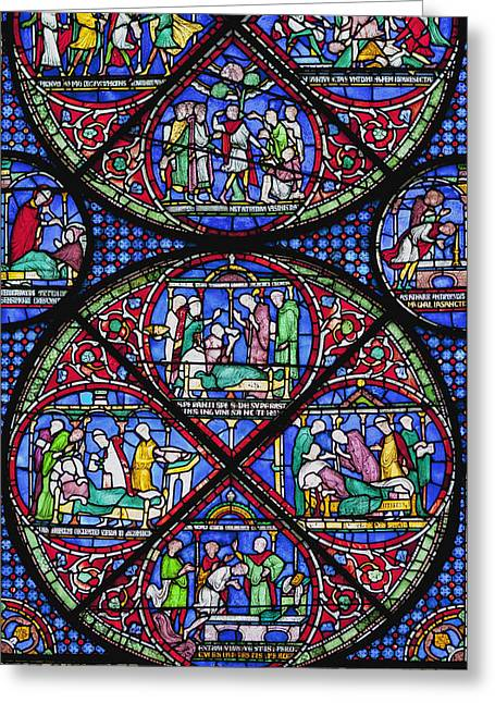 The Followers Greeting Cards - Colourful Stained Glass Window In Greeting Card by Terence Waeland