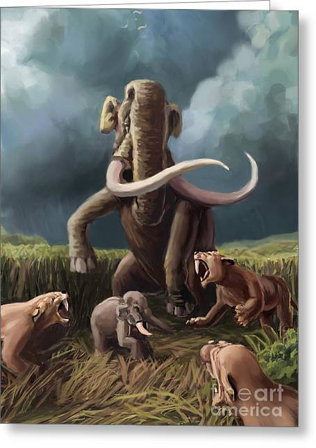 Fighting Tigers Greeting Cards - Columbian Mammoth And Saber-toothed Cats Greeting Card by Spencer Sutton