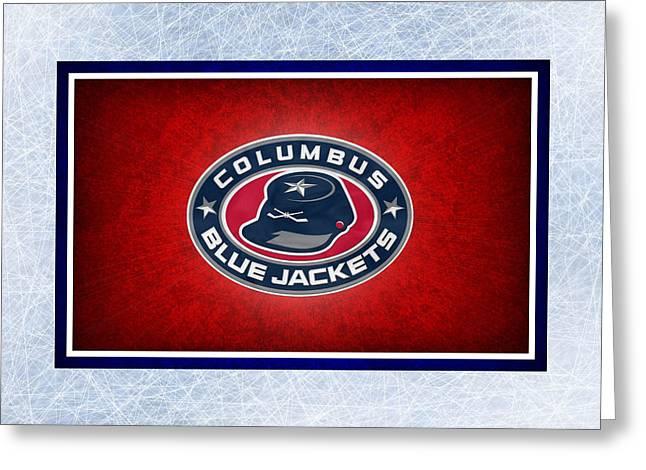 Skating Greeting Cards - Columbus Blue Jackets Greeting Card by Joe Hamilton